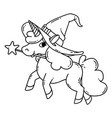 halloween unicorn with magic wand and witch hat vector image