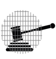 hammer justice with bars vector image