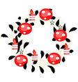 hand drawn wreath with red balls and fir branches vector image