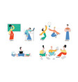 happy teen man girl students jump with book vector image vector image