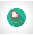 Heart with string round flat style icon vector image