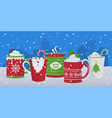 hot drinks winter christmas mugs background vector image vector image