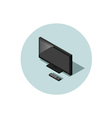 isometric of black flat screen TV with remote vector image