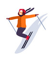 kid skiing down slope and winter holidays vector image vector image