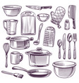 kitchen utensils sketch cooking equipment frying vector image