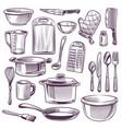 kitchen utensils sketch cooking equipment frying vector image vector image