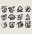 monochrome vintage brewing badges vector image vector image