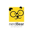 nerd logo design template with cartoon face bear vector image