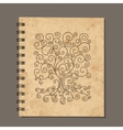 Notebook design art tree Old grunge paper vector image vector image