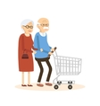 Old Man and Woman with Shopping Cart vector image