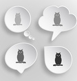 Owl White flat buttons on gray background vector image vector image