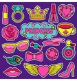 Princess Fashion Patches Set vector image