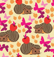 Seamless pattern with hedgehog and butterfly vector image
