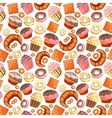 Seamless pattern with various pastries Bakery vector image