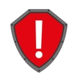 security shield with alert symbol isolated icon vector image vector image