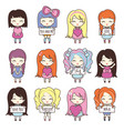 set collections of cute girls holding hearts and vector image vector image