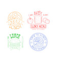 set hand drawn emblems for cafe or vector image vector image
