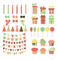 Set of birthday party design elements Colorful vector image vector image