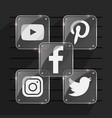 shinny social media icons vector image vector image