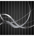 Silver metal waves on black striped background vector image vector image
