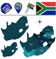 South Africa map with named divisions vector image vector image