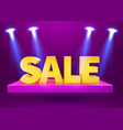 stage podium with lighting and sale sign vector image vector image