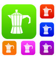 steel retro coffee pot set collection vector image