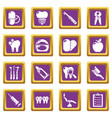 stomatology dental icons set purple square vector image vector image