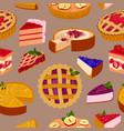 sweet cakes and pies slices seamless pattern of vector image
