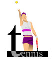 tennis player poster colored for designers vector image