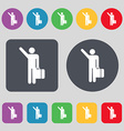 tourist icon sign A set of 12 colored buttons Flat vector image vector image