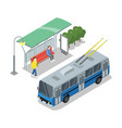 trolleybus stop isometric 3d icon vector image vector image