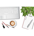 ttop view female office table desk with vector image