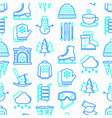 winter seamless pattern with thin line icons vector image vector image