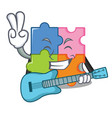 with guitar puzzle mascot cartoon style vector image