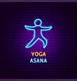 yoga asana neon label vector image vector image