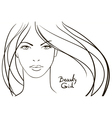 Young woman face with long blond hair vector image