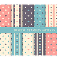10 retro different seamless patterns Polka dots vector image vector image