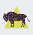 abstract polygonal geometric buffalo side view vector image