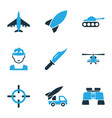 army icons colored set with bomb sniper target vector image vector image