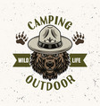 bear in scout hat camping emblem or logo vector image vector image