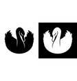 black and white swans silhouettes vector image vector image