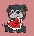black bull dog with love heart pillow cartoon vector image vector image