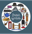 british symbols from cuisine and architecture in vector image