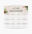 Calendar design template for 2018 year week start vector image