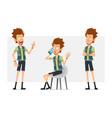 cartoon flat hipster boy character set vector image vector image