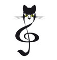 cat treble clef cat stylized tattoo vector image vector image