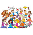 children group playing with toys cartoon vector image