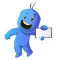 dancing blue cartoon caracter with a notepad on vector image vector image