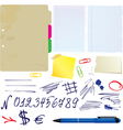 Different papers hand drawn numbers and symbols vector image